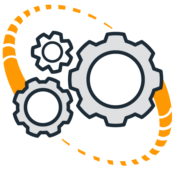 Gear in a circle representing zero cost integration into any scalehouse system within a matter of hours